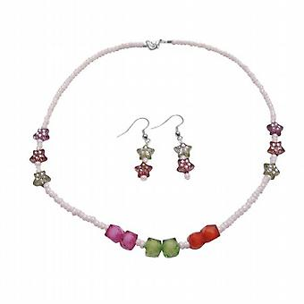 All occasion Gift Jewelry Star Cube Tiny Beads Necklace Earrings Set