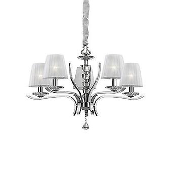 Ideal Lux - Pegaso cromo e Crystal Chandelier luz cinco com Organza tons IDL066448
