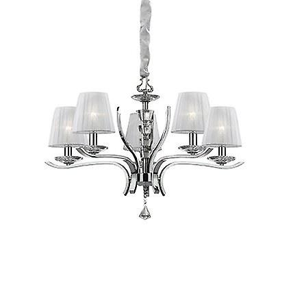 Ideal Lux - Pegaso Chrome And Crystal Five Light Chandelier With Organza Shades IDL066448