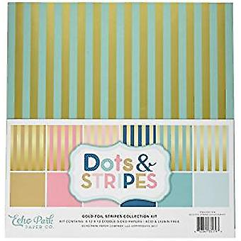 Echo Park Paper Company Gold Foil Stripes 12x12 Inch Collection Kit (DSF17016)