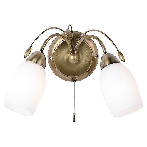 Endon 2007-2AN Switched Brass Double Wall Light With White Opal Glass