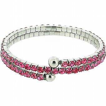 The Olivia Collection Double Row Pink Glass Set Bangle
