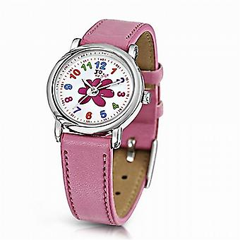 Jo For Girls Analogue Pink Flower Leather Strap Girls Fashion Watch JW007