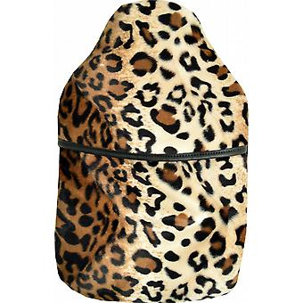 Plush Fur 2L Padded Cover Hot Water Bottle: Leopard