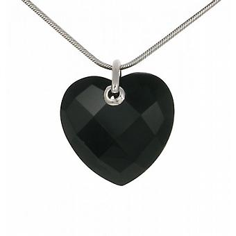 "Cavendish French Sterling Silver and Faceted Black Agate Heart Pendant with 18 - 20"" Silver Chain"