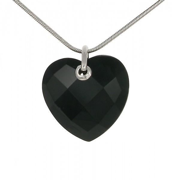 Cavendish French Sterling Silver and Faceted Black Agate Heart Pendant