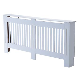 HOMCOM Slatted Radiator Cover Painted Cabinet MDF Lined Grill in White (172L x 19W x 81H cm)