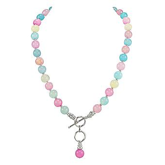Eternal Collection Candy Pastel Multi Agate Beaded Sterling Silver Necklace