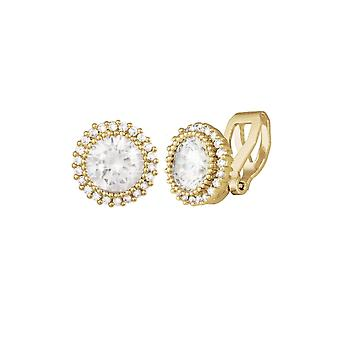 Eternal Collection Dazzle Cubic Zirconia Gold Tone Stud Clip On Earrings
