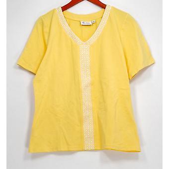 Denim et Cie Haut V-cou Short Sleeve Top w/ Broderie Jaune A287354