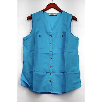 Susan Graver Top Linen Blend Sleeveless Button Front Shirt Azure Blue A265837