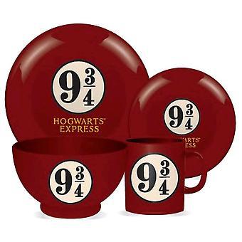 Harry Potter Platform 9 3/4 4 Piece Ceramic Dinner Set