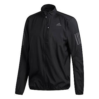 adidas Own The Run Mens Water Repellant Running Jacket Coat Black