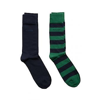 Gant D1. 2 Pack Barstripe und solide Socken Ivy Green