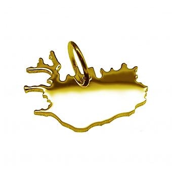 Pendant map chain pendant in gold yellow-gold in the shape of ISLAND