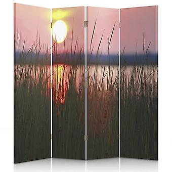 Room Divider, 4 Panels, Canvas, Sunset On The Lake