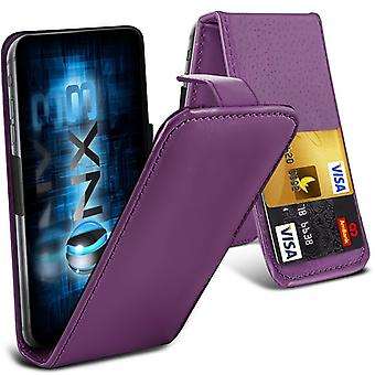 ONX3 ( Purple) BlackBerry DTEK50 / BlackBerry Neon Premium PU Leather Universal Spring Clamp Flip Case with Camera Slide and Card Slot Holder