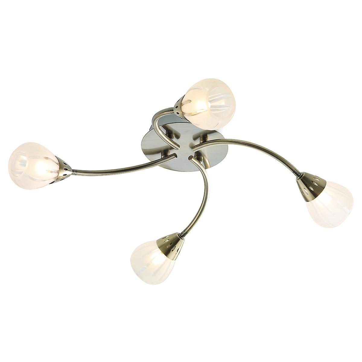Dar VIL0475 Villa 4 Light Flush Ceiling In An Antique Brass Finish