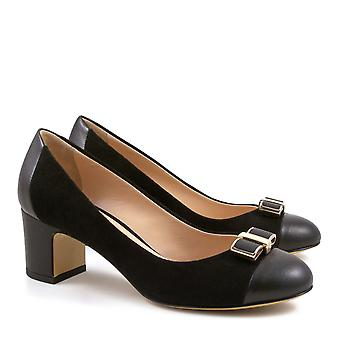 Italian pumps shoes in black suede leather medium heels