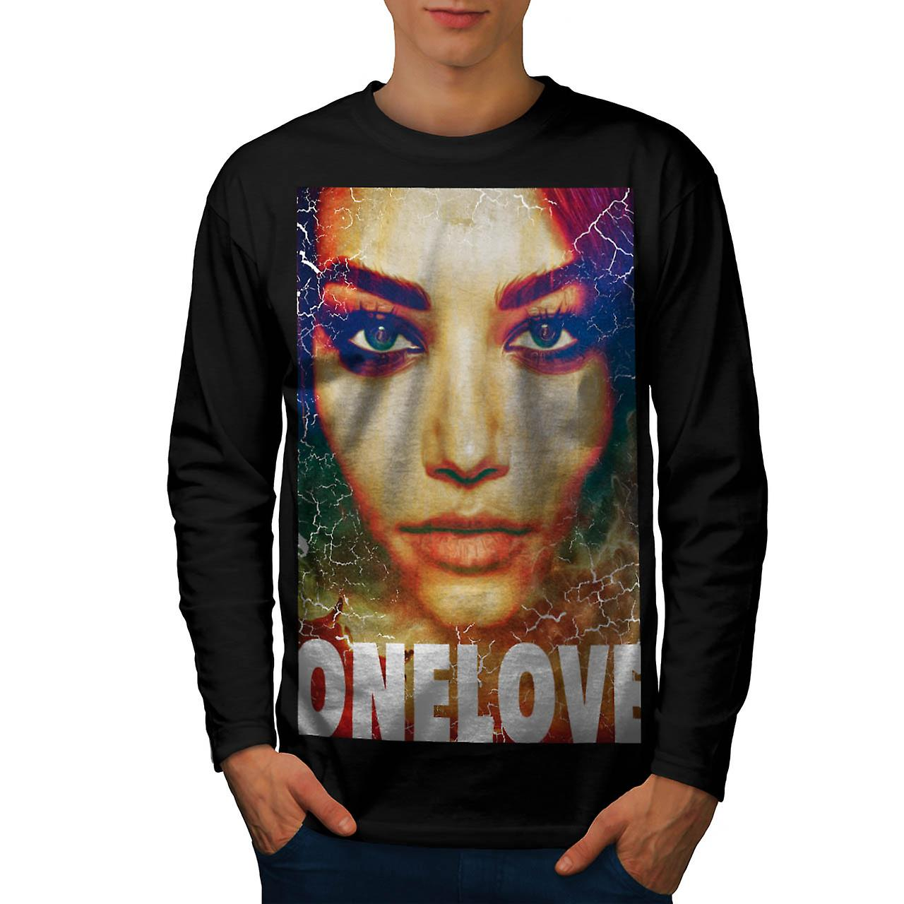 One Love Beauty Girl Model Pose Men Black Long Sleeve T-shirt | Wellcoda
