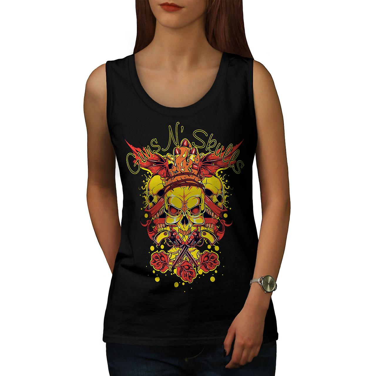 Guns And Skulls Brawl King Demon Women Black Tank Top | Wellcoda