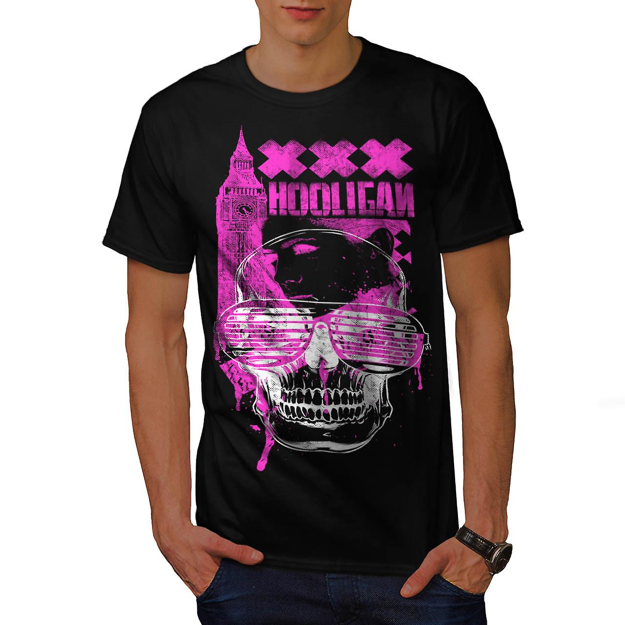 DJ Hooligan Skull XXX London UK Men Black T-shirt | Wellcoda