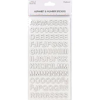 Simply Creative Alphabet & Number Stickers-Modern Chipboard White SCSTK009