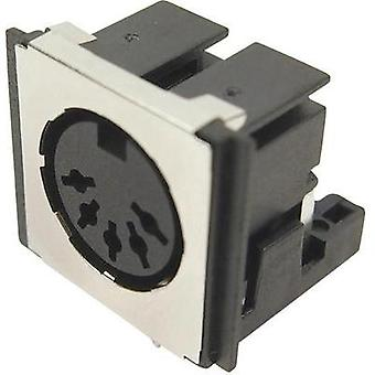 DIN connector Socket, horizontal mount Number of pins: 5 Black Cliff FM6725 1 pc(s)