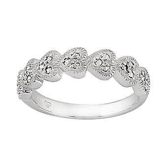Sterling Silver 0.25ct Marcasite Seven Hearts Ring