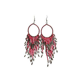 Long boho chic statement earrings pink