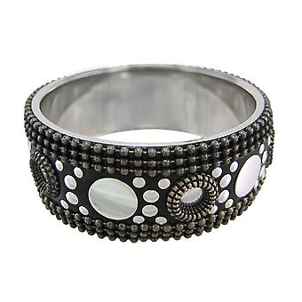Three Tone Studded Bangle Bracelet Tri-Tone