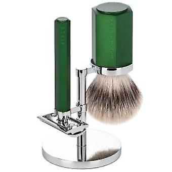 Muhle Hexagon Silvertip Fibre® 3pc Safety Razor Set in Forest