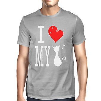 Niedliche Grafik Anweisung T-Shirt für Männer - ich liebe meine Katze grau Graphic Tee