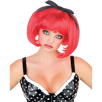 Bob with Bow Red Doll Halloween Women Costume Wig