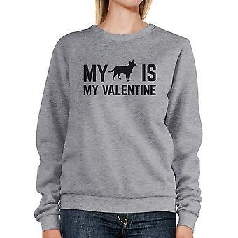 Mijn hond Is mijn Valentijn Unisex grijs grafische Sweatshirt voor hondenliefhebber