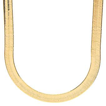 Iced out bling HERRING BONE hip hop chain - 8 mm gold