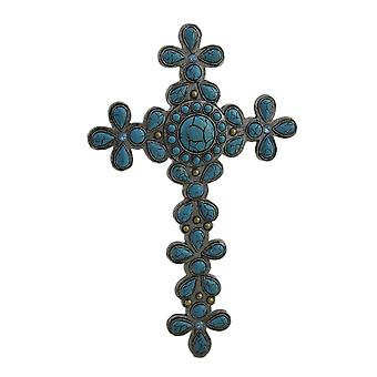 Divine Flower Design Faux Turquoise Stone Decorative Wall Cross