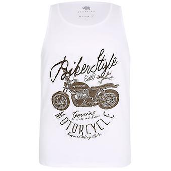 BadRhino White Motorbike Print Crew Neck Cotton Vest