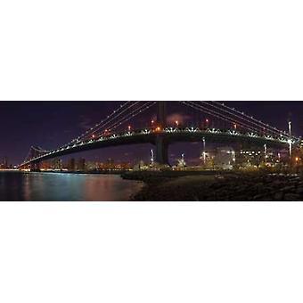 Manhattan bridge en Lower Manhattan skyline van New York Poster Print by Assaf Frank