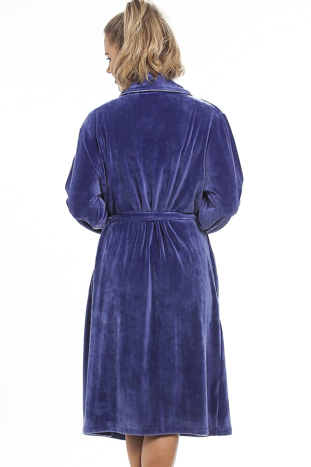 Camille Luxurious Heavy Weight Soft Purple Velour Dressing Gown
