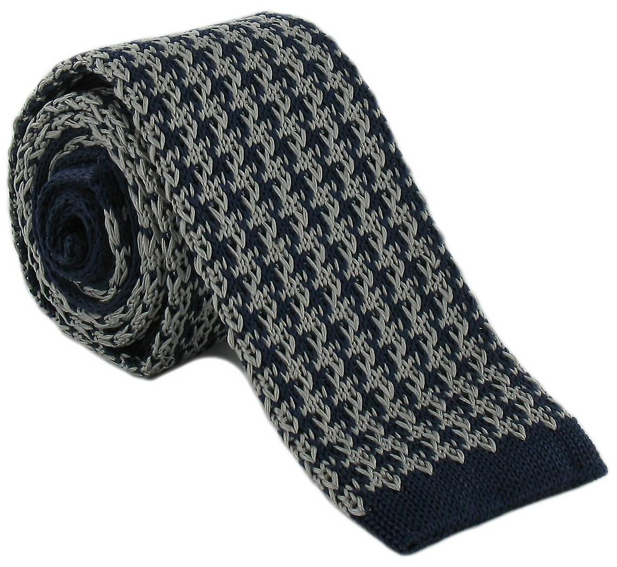 Michelsons of London Silk Knitted Houndstooth Skinny Tie - Navy/Grey