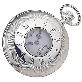 Woodford Sterling zilveren halve Hunter Zwitserse Pocket Watch - zilver