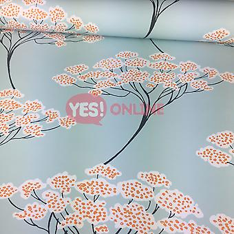 Banyan Tree Wallpaper Oriental Turquoise Light Blue Orange Modern Fine Decor