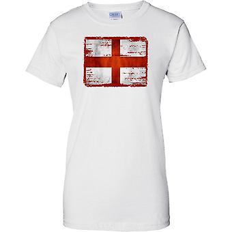 St Georges Kreuz England Flagge der Grunge-Effekt - Damen-T-Shirt