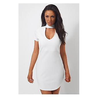 The Fashion Bible Mina Curved Hem White Choker Mini Dress