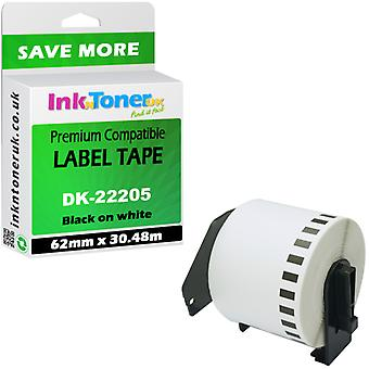 Brother QL-570 Compatible LabelTape DK22205 continuous black-white 30m