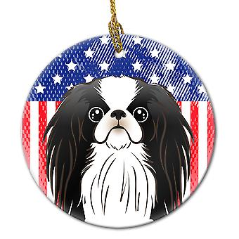 Carolines Treasures  BB2160CO1 American Flag and Japanese Chin Ceramic Ornament