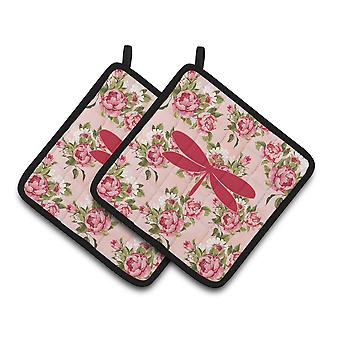 Moth Shabby Chic Pink Roses  Pair of Pot Holders