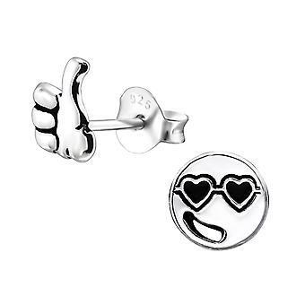 Cool Guy Face - 925 Sterling Silver Plain Ear Studs - W31929X