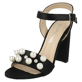 Las señoras Anne Michelle alto talón sandalias perla F10774